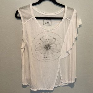 Free People white shirt asymmetrical flower shirt